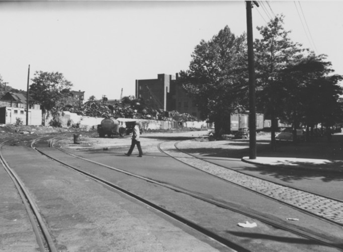 Looking NW on railroad from Rose and Jelliff