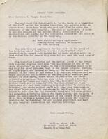 Letter from William Gauch, M.D., to Miss Beatrice K. Teeple. Copy