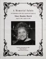 A Memorial Salute in Celebration of Life, Legend and Legacy of Mary Beasley Burch.