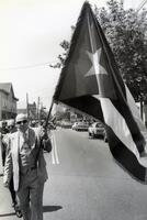 Man holding Cuban flag