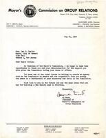 Letter Wishing Mayor Carlin Well