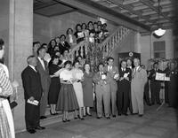 Board of Ed Building Carol Singing on stairs and before tree Miss Agnes Murphy's Department