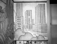 A detail in the mural at East Side High School featuring downtown skyscrapers.