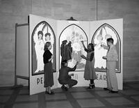 Lobby Board of Ed. Building, 4 West Side High School (Newark, N.J.)Students Painting Panels Miss M. Grace Johnston, Art Department
