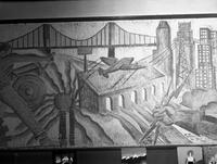 A detail in the mural at East Side High School featuring an airplane, a bridge and the Newark skyline.
