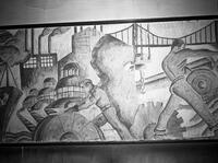 A detail in the mural at East Side High School featuring a bridge and industrial workers.