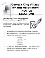 Georgia King Village Tenants Association Notice Elections