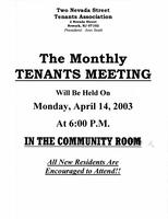 Monthly Tenants Meeting